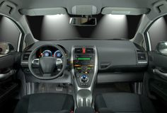 Car interior. Interior of the modern hybrid car Stock Image