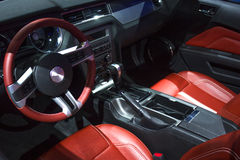 Car interior. Red with black leather car interior Stock Photos