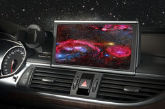 Car interior with space and galaxy Royalty Free Stock Photography