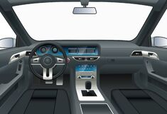 Free Car Interior. View From Drivers Seat. Royalty Free Stock Image - 184332576