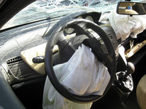 Car internal drive crashed with broken windshield, rear-view mir. Ror broken and destroyed body Stock Photos