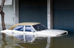 Car inundated during a flood in Bangkok, Thailand Royalty Free Stock Image