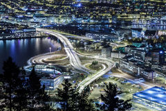 Car isolated at night. Bergen, Norway Stock Images