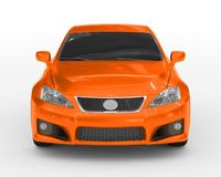 Car isolated on white - orange paint, tinted glass - front view Royalty Free Stock Photos