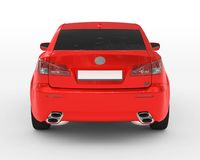 Car isolated on white - red paint, tinted glass - back view Stock Photo