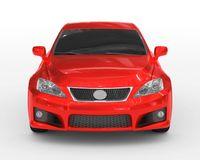 Car isolated on white - red paint, tinted glass - front view Stock Photography