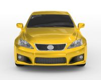 Car isolated on white - yellow paint, tinted glass - front view Royalty Free Stock Images