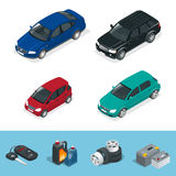 Car isometric. Tire service car auto, repair icons flat set  vector isometric illustration. Consumables for car. Royalty Free Stock Photography