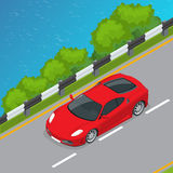 Car isometric vector illustration. Flat 3d convertible image. Transport for summer travel. Sports car vehicle Stock Photo