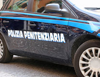 car of italian police with words Polizia Penitenziaria that mean Stock Photos