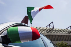 Car with Italy flags closeup Stock Images
