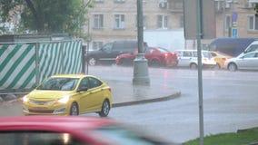 Car jam in heavy rain stock footage