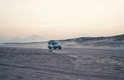 Car or jeep driving in desert, Hurghada, Egypt stock photos