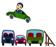 Car jump. Humorous illustration of a cartoon stunt man jumping over three cars Royalty Free Stock Images