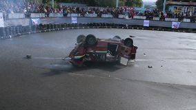 Car jumps into air, dangerous stunt, explosion sound. Part1of2