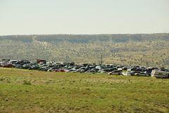 Car junk yard. A picture of an old car junk yard in the high desert of New Mexico Stock Photo