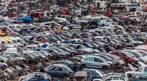 Car junkyard full of wrecks cars stock photography