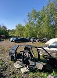 Junkyard in city with cars Royalty Free Stock Photo