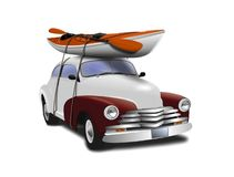 Car with Kayak on top Royalty Free Stock Image