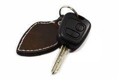 Car key. With leather keychain Royalty Free Stock Images