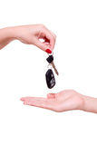 Car key. In hand on white background stock photos