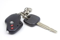 Car key. With remote control on white background Royalty Free Stock Photos