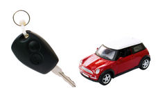 Car and key. Isolated, winning or renting a car concept Royalty Free Stock Photography