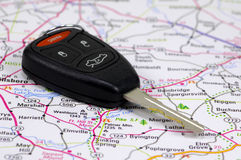 Car Key 2. Car Key on a Map Royalty Free Stock Images