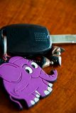 Car key. Close-up car remote control with elephant royalty free stock images