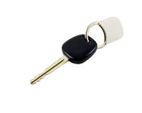Car Key. With key chain isolated on white with clipping path stock photo