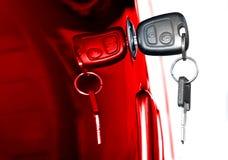 Car Key. Key at car doors - close up Stock Photos