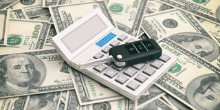 Car key and calculator on dollars banknotes background. 3d illustration Royalty Free Stock Photography