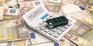 Car key and calculator on euros banknotes background. 3d illustration. Car key and calculator on fifty euros banknotes background. Car insurance cost concept. 3d Stock Images