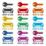 Car key, Car rental icon, color icons set. Simple vector icon Royalty Free Stock Photos