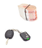 Car key cash money Royalty Free Stock Image