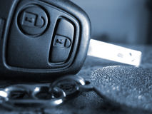 Car key closeup. Close up of car key with keyring monochromatic Royalty Free Stock Photos