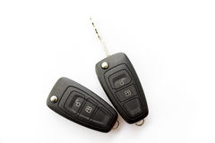 Car key closeup on a white royalty free stock photos
