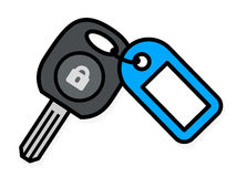 Car key with a colorful blue plastic tag Stock Photography