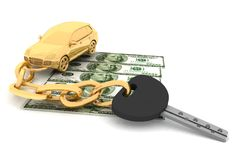 Car key and dollars Stock Photos