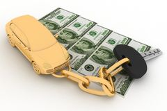 Car key and dollars Royalty Free Stock Images