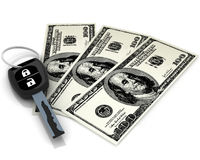 Car key and 100 dollars Royalty Free Stock Photography