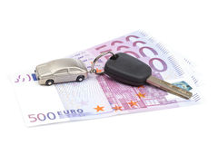 Car key and euro bills Royalty Free Stock Images