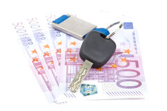 Car key and euro bills Stock Photo