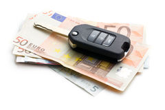 Car key on euro currency Stock Images