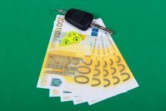 Car key and euro money, concept Royalty Free Stock Photography