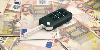 Car key on euros banknotes background. 3d illustration Stock Photo