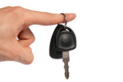 Car key on finger Stock Images