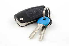 Car Key fob with House Keys. On white background Stock Images