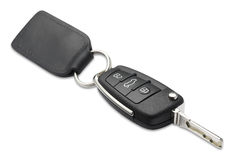 Car key and fob shallow dof with clipping path. A car key and fob with shallow depth of field on white with clipping path Stock Photography