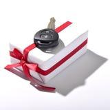 Car key and gift box Royalty Free Stock Photos